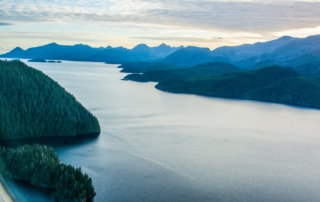 Picturesque Nootka Sound and Vancouver island from the air at sunset.