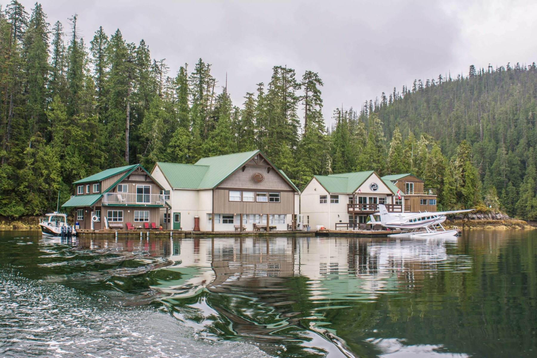 Nootka Wilderness Lodge floating on lake.