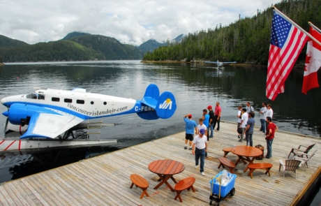 Float planes arriving at Nootka Wilderness Lodge.