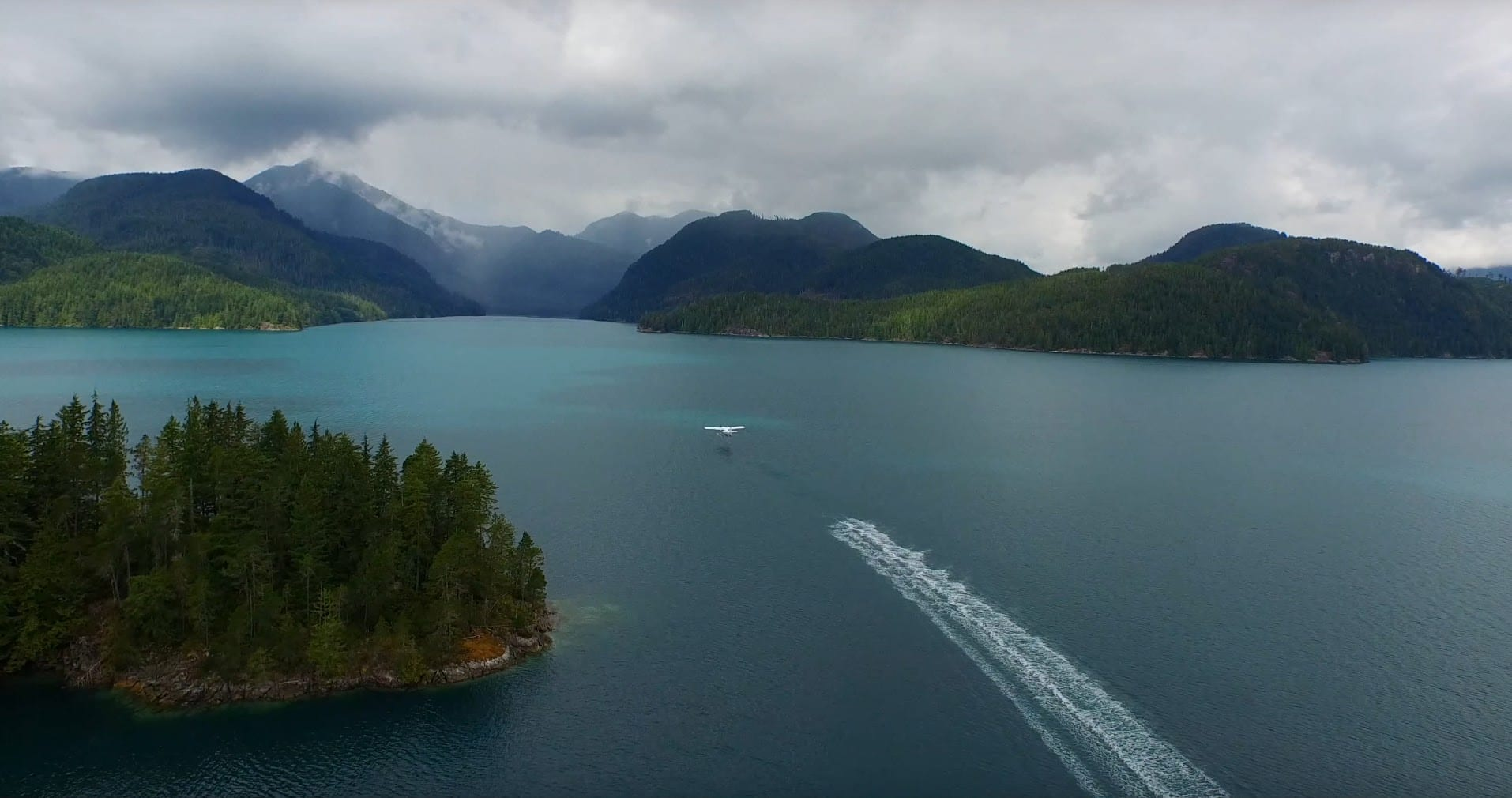 Float plane taking off from Nootka Sound.