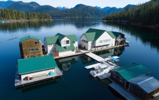 Nootka Wilderness Lodge floating on the water.
