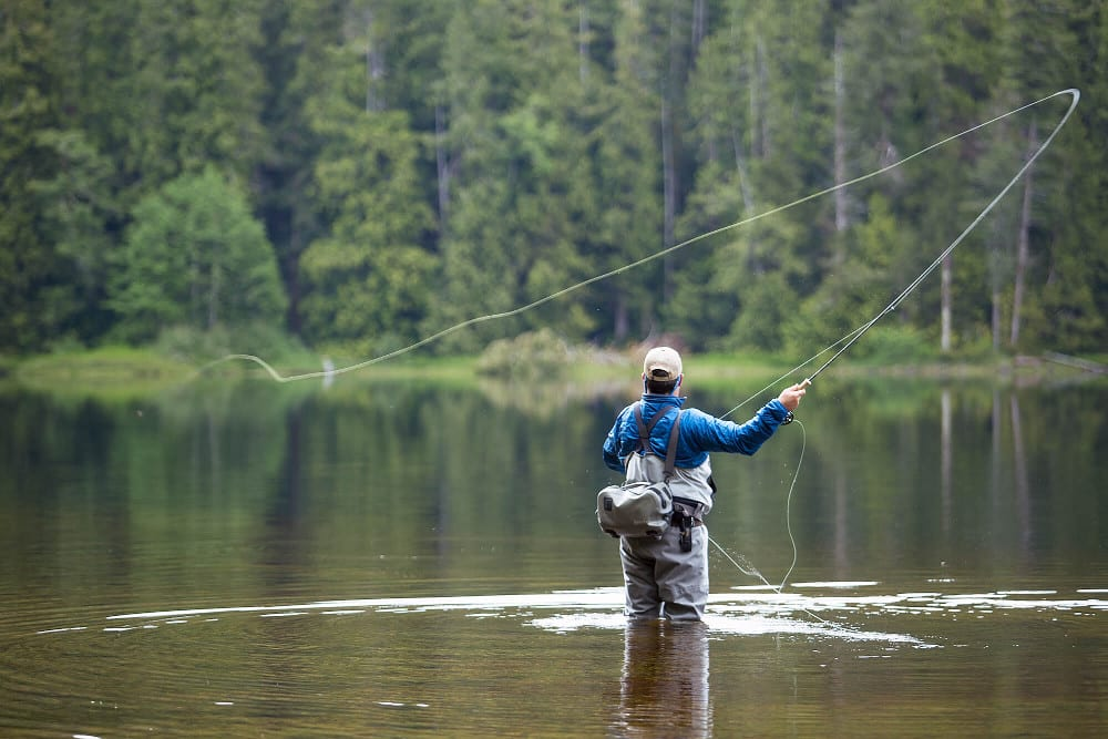 Man fly fishing.