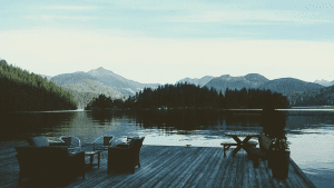 Photo of a Dock Patio on Vancouver Island. Click Here for 5 Things to Do on Vancouver Island.