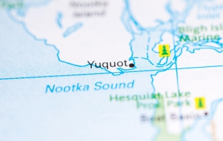 A map of the Nootka Sound and the historical village of Yuquot.