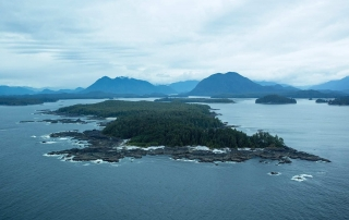 an aerial photo of Vancouver island vacation